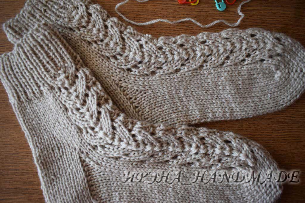 Вязание носочков с ажуром - готовое изделие