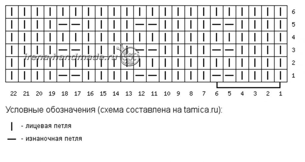 Ажурные митенки с узором «Листья» - схема 1 - вертикальные полоски
