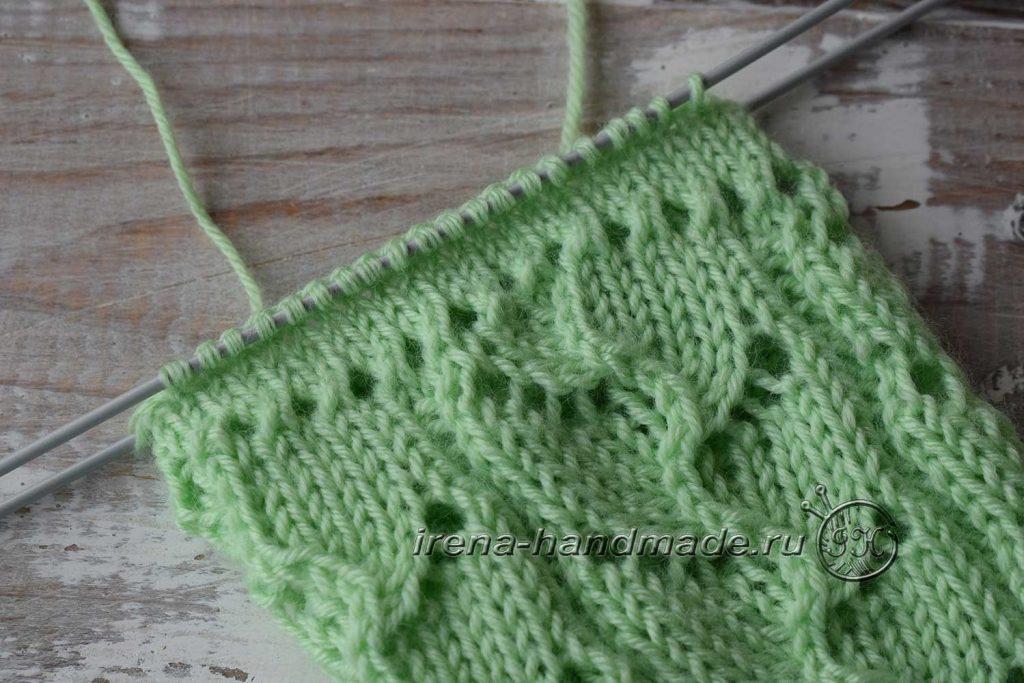 Ажурные носки с узором «Ручеек» - манжета 1