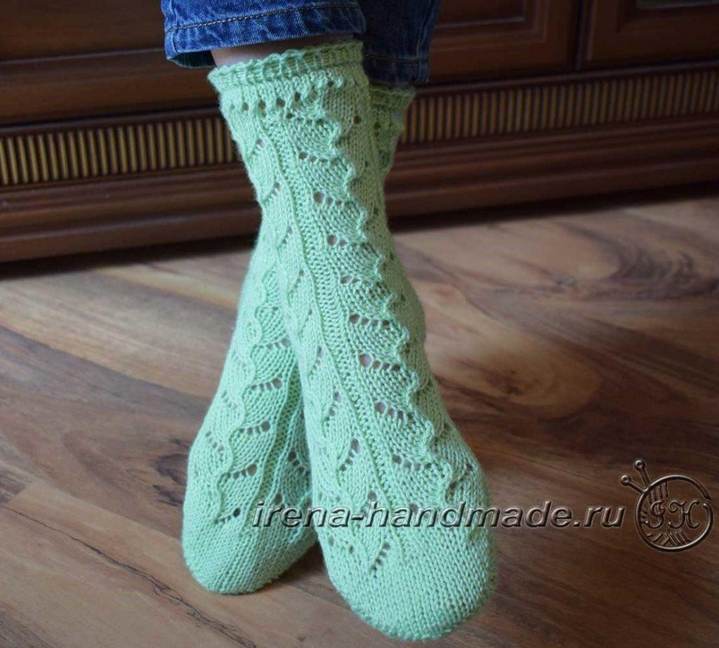 Ажурные носки с узором «Ручеек» - итог