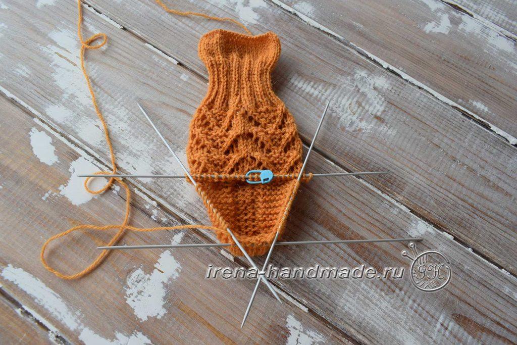 Ажурные носки с узором «Треугольники» - добор