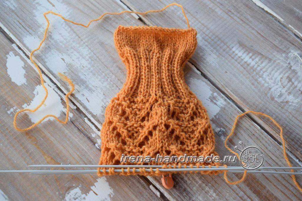 Ажурные носки с узором «Треугольники» - манжета - узор