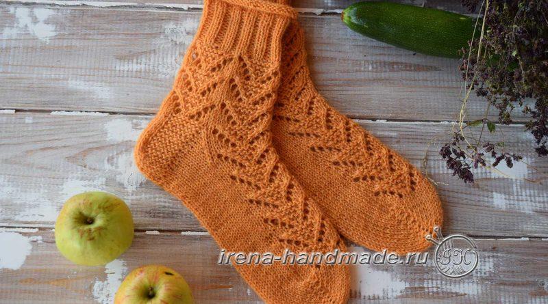 Ажурные носки с узором «Треугольники» - основное фото