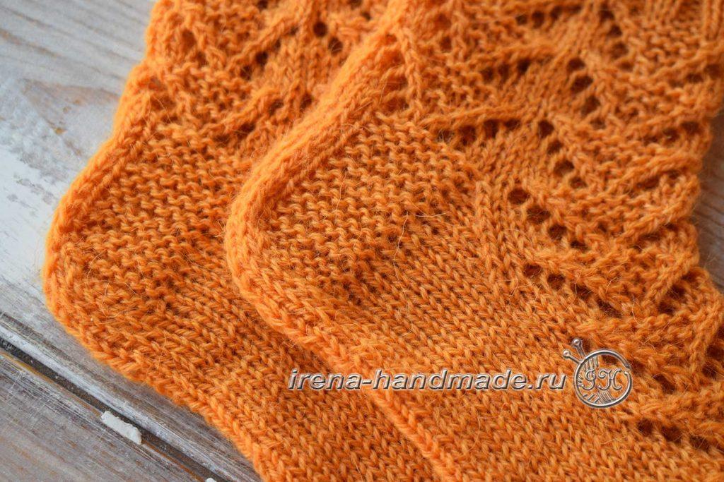 Ажурные носки с узором «Треугольники» - пятка - 2