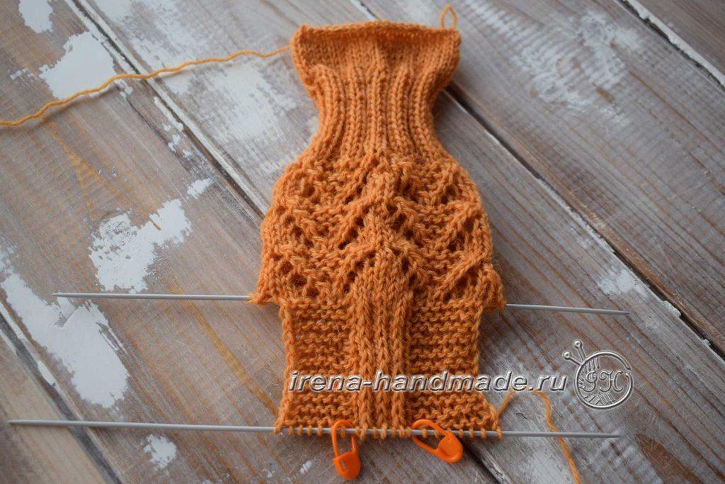 Ажурные носки с узором «Треугольники» - стенка пятки
