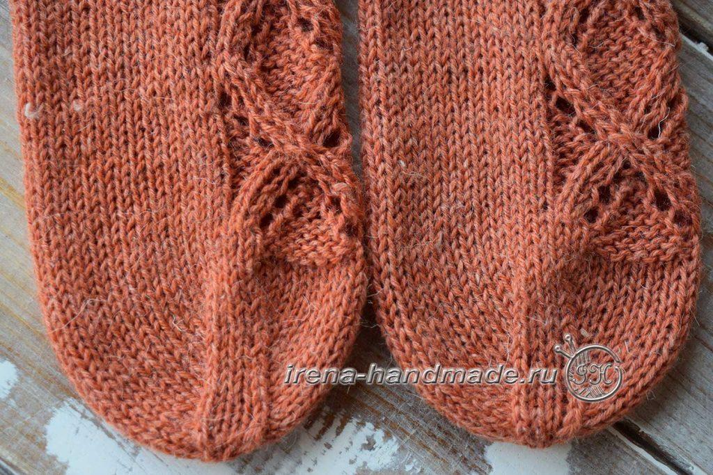Ажурные носки «Осенний блюз» - мысок