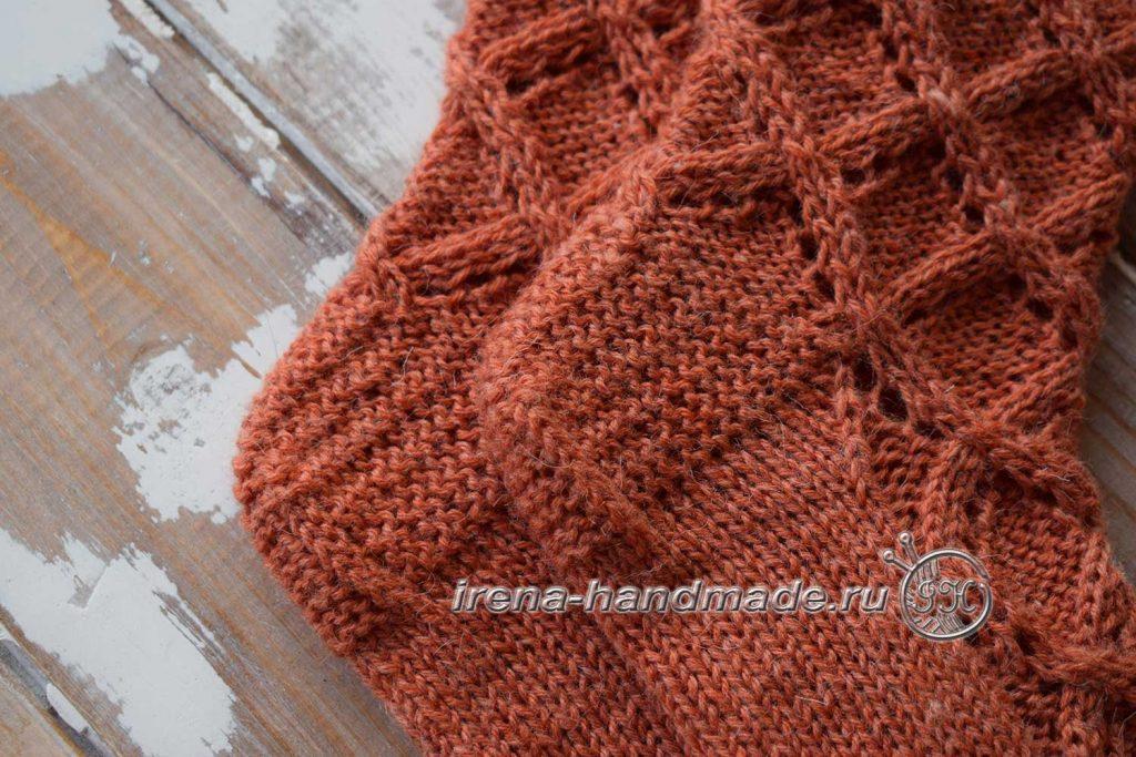 Ажурные носки «Осенний блюз» - пятка