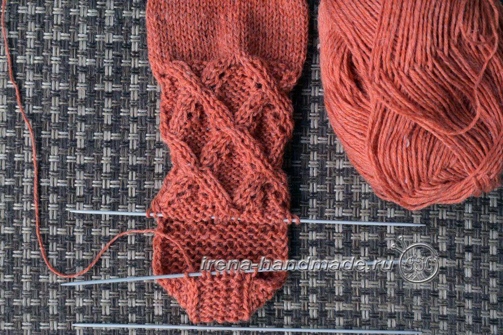 Ажурные носки «Осенний блюз» - пятка 2