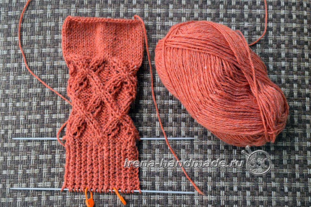 Ажурные носки «Осенний блюз» - стенка пятки
