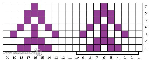 Носки с жаккардовым узором - схема 3 жаккардовый узор цветок