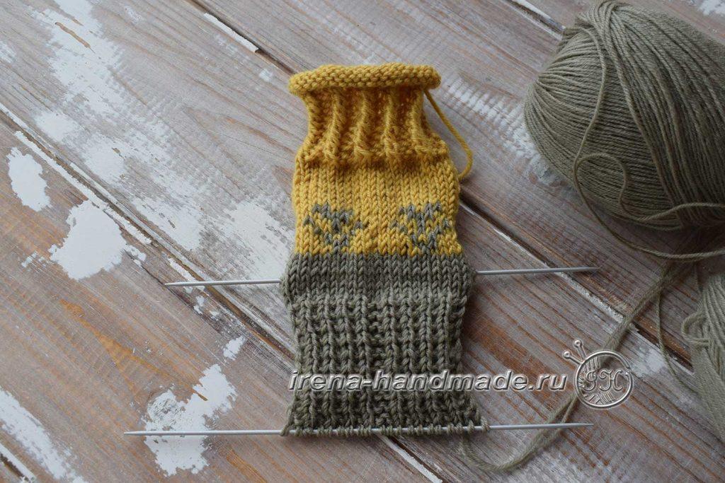 Носки с жаккардовым узором - стенка пятки