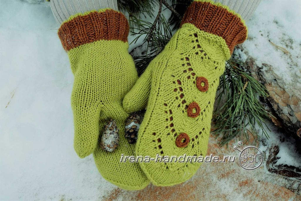 Ажурный узор «Ракушки» - рукавички