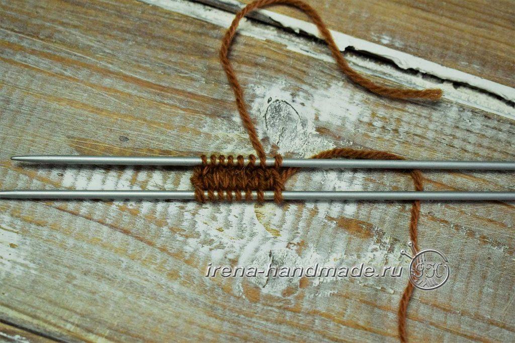 Двойные варежки с ажуром - мысок 2
