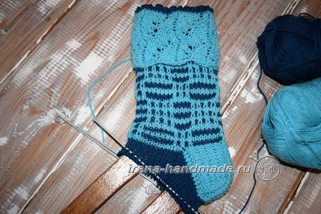 Носки с ажуром «Морозко» - круговые ряды