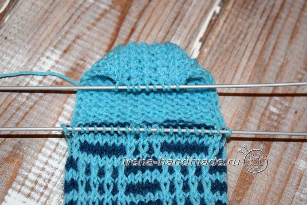 Носки с ажуром «Морозко» - пятка - формирование