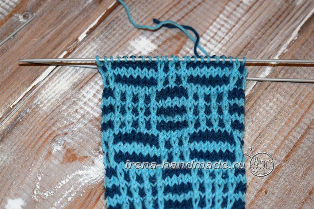 Носки с ажуром «Морозко» - стенка пятки - начало