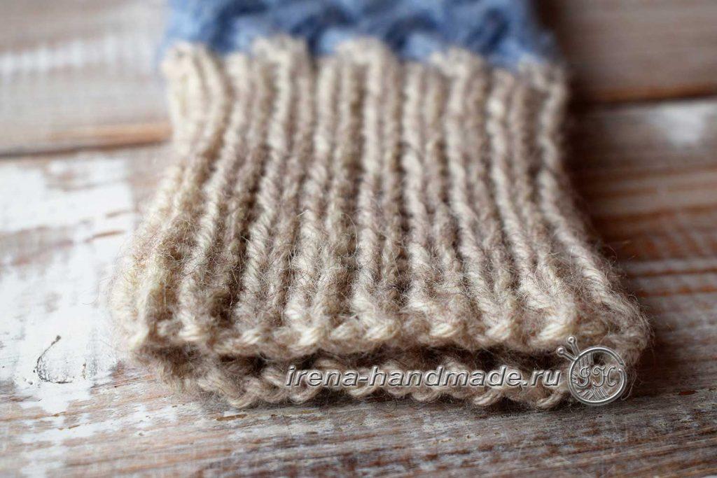 Варежки «Зимушка» узором «плетенка» - манжета
