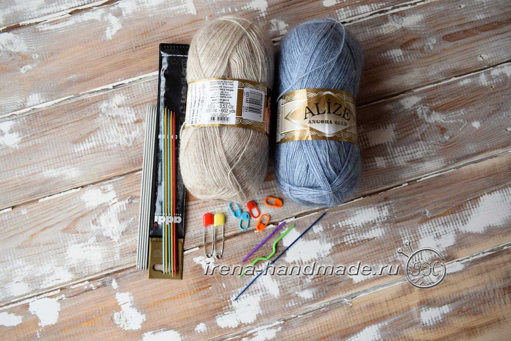 Варежки «Зимушка» узором «плетенка» - материалы