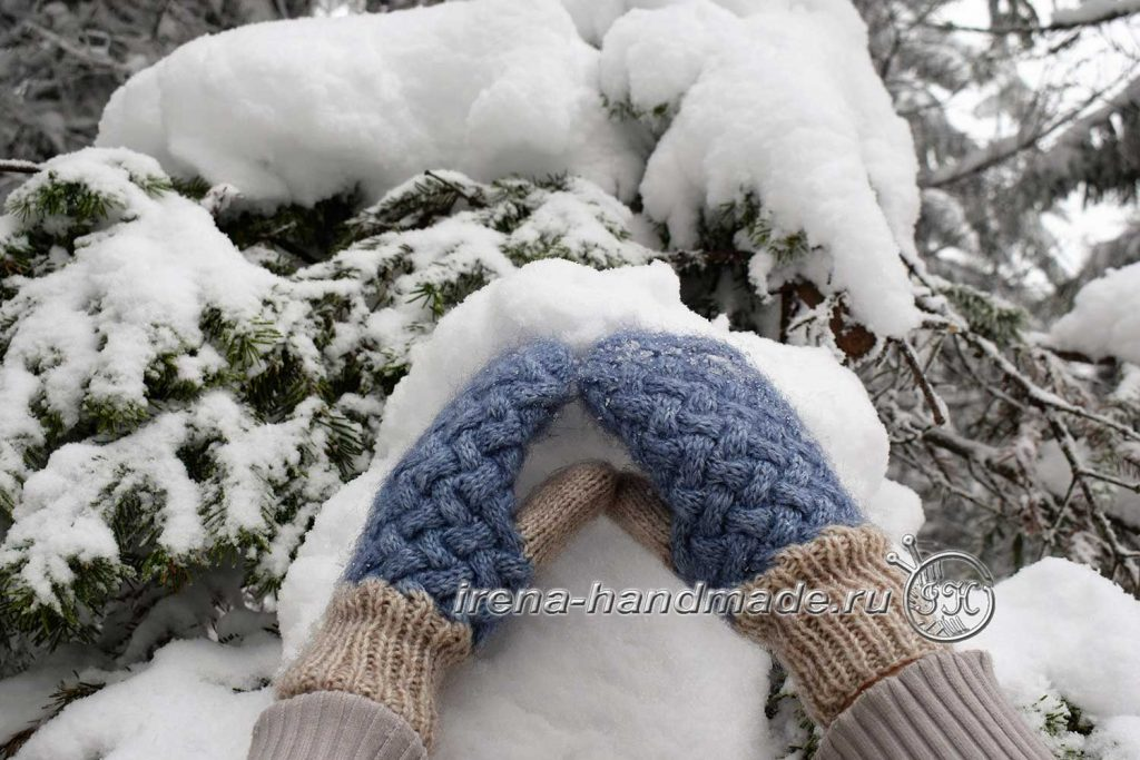 Варежки «Зимушка» узором «плетенка» - пальчик
