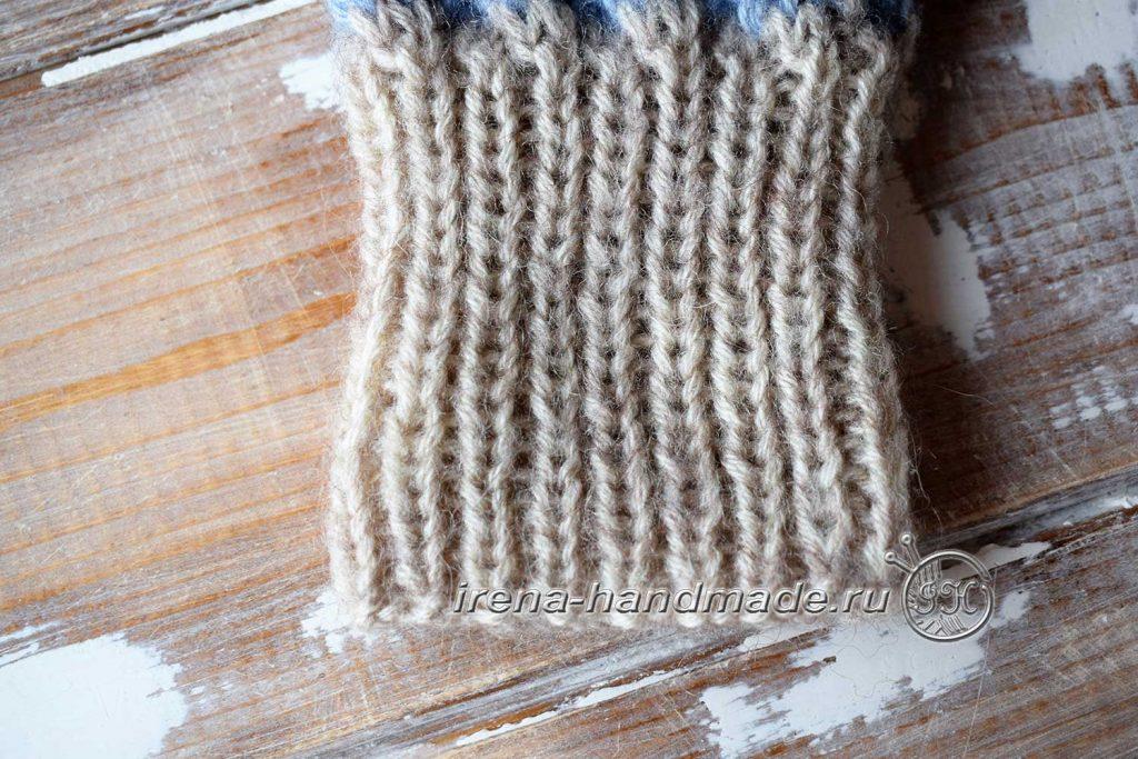 Варежки «Зимушка» узором «плетенка» - резинка 1 на 1