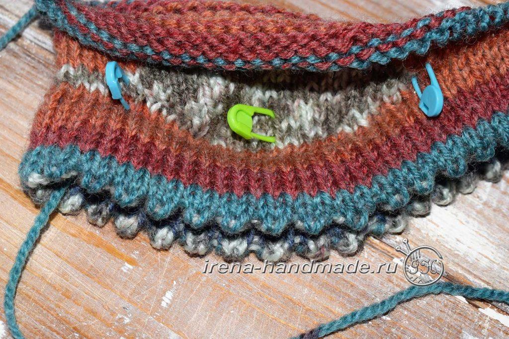 Двойная шапка с ушками - зубчатый край