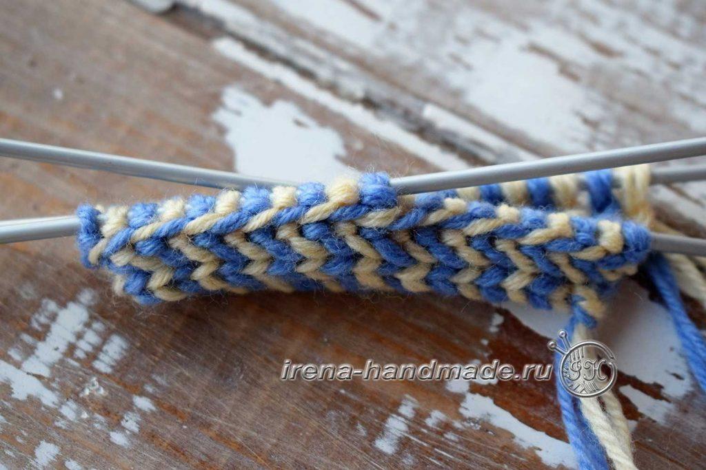 Как связать варежки с индийским клином - обручок