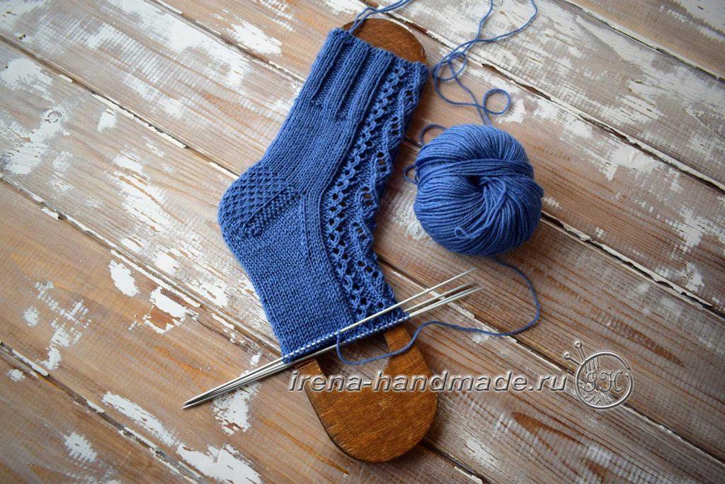 Носки с ажурным узором «Капельки» - клин