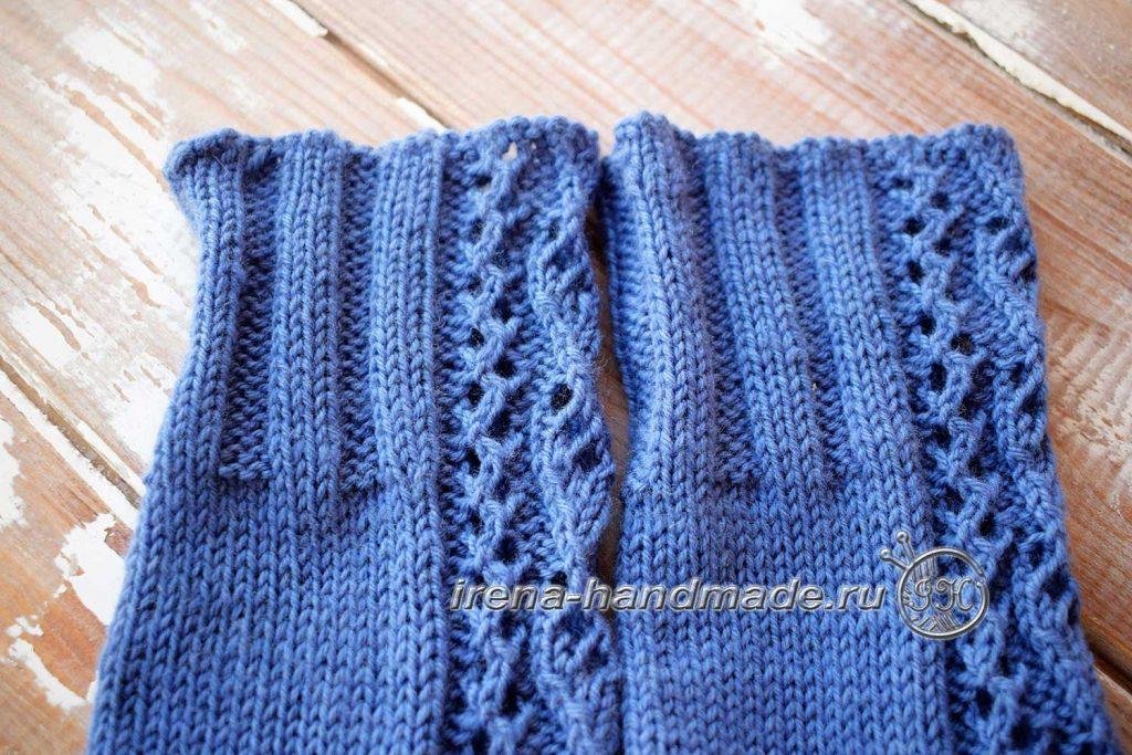 Носки с ажурным узором «Капельки» - манжета