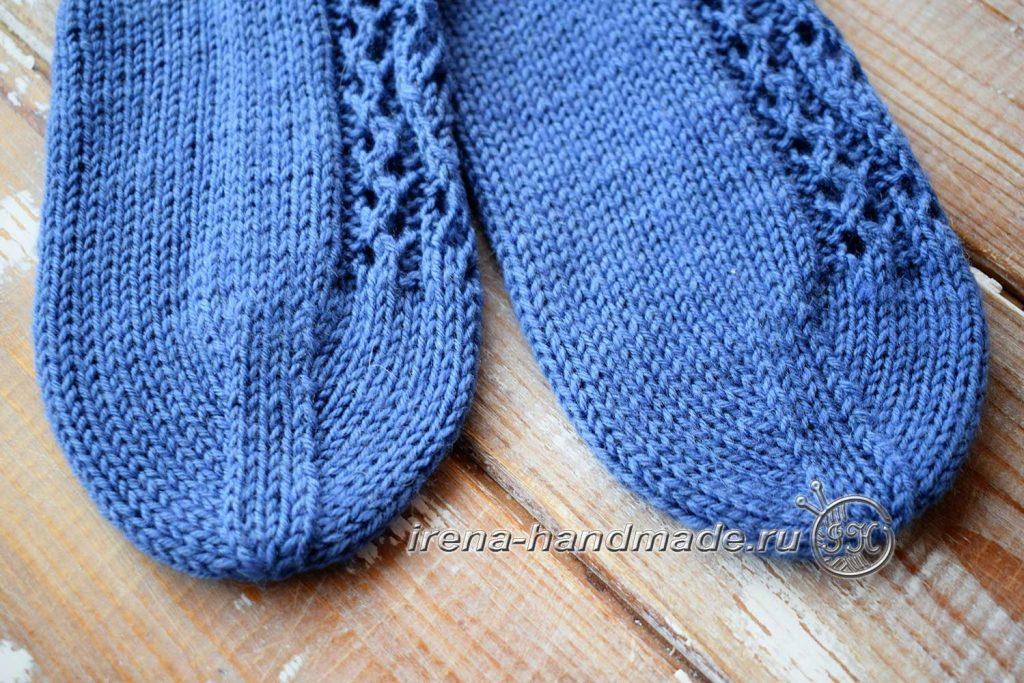 Носки с ажурным узором «Капельки» - мысок