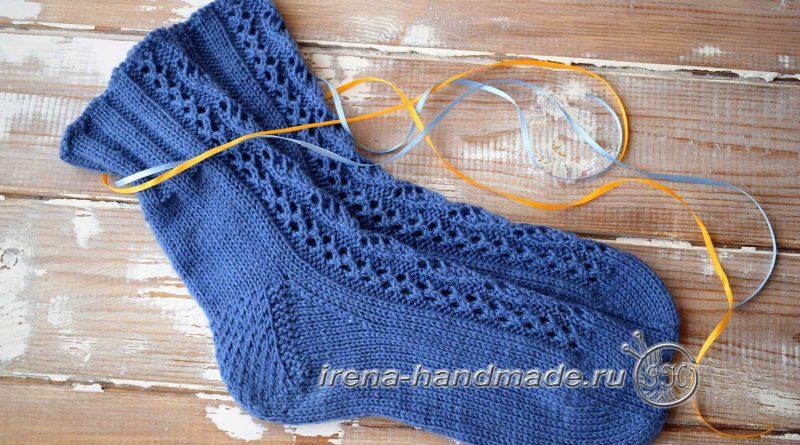 Носки с ажурным узором «Капельки» - основное фото