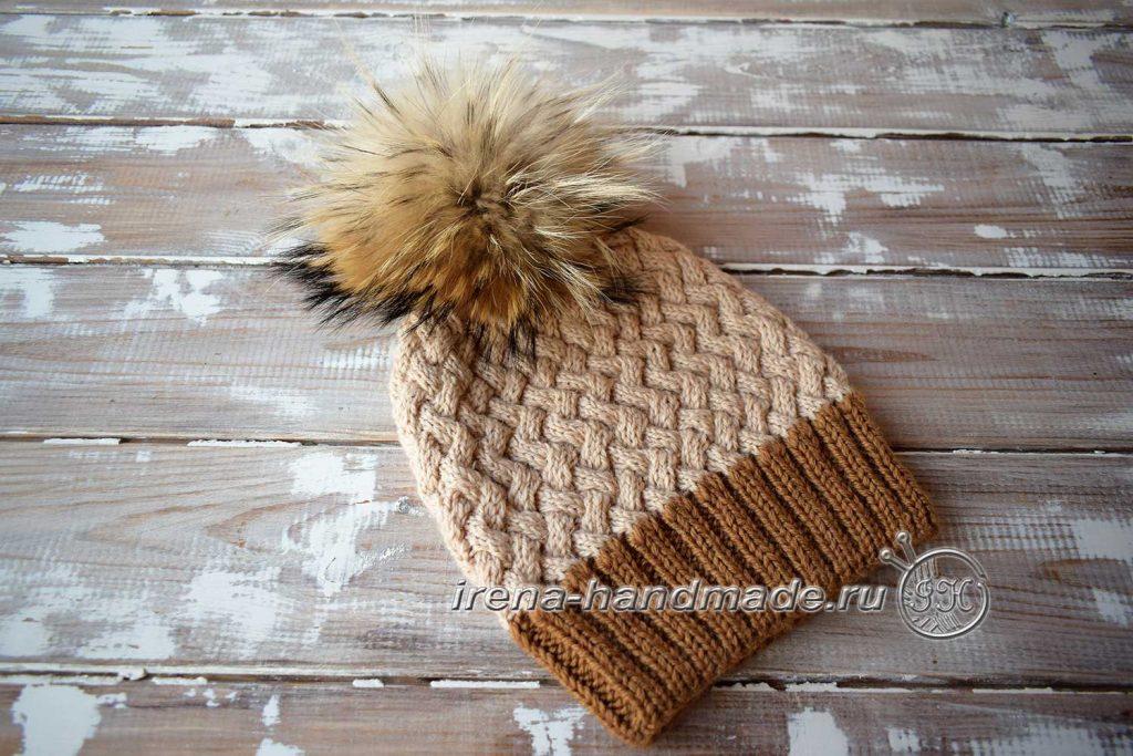 Узор «плетенка» из жгутов - узор в изделии шапка