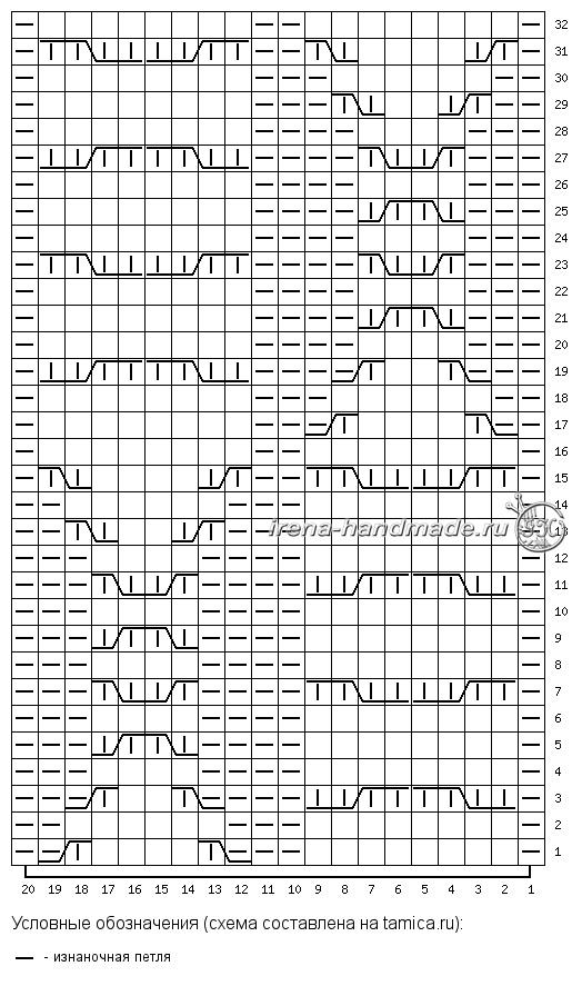 Шапка бини с арановым узором - схема арановый узор «Черника»