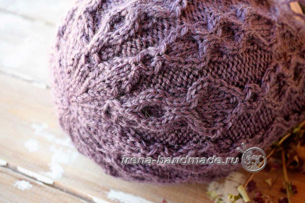 Шапка бини с арановым узором - убавления на макушке шапки 1