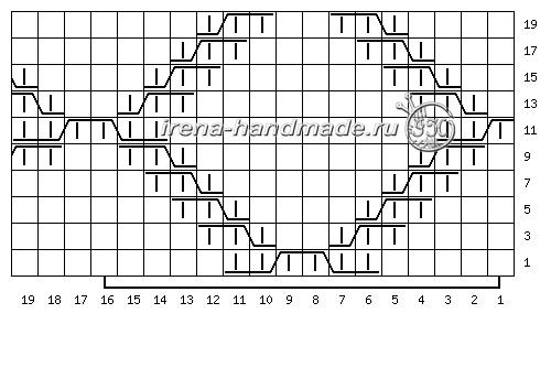 Шапка с удлиненной макушкой рельефным узором - схема 2 «Ромбы»