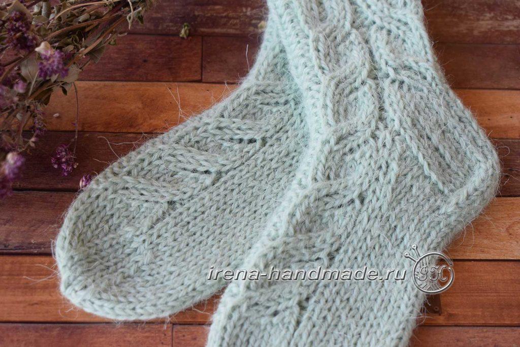 Детские носки с узором - узор «ложная» коса
