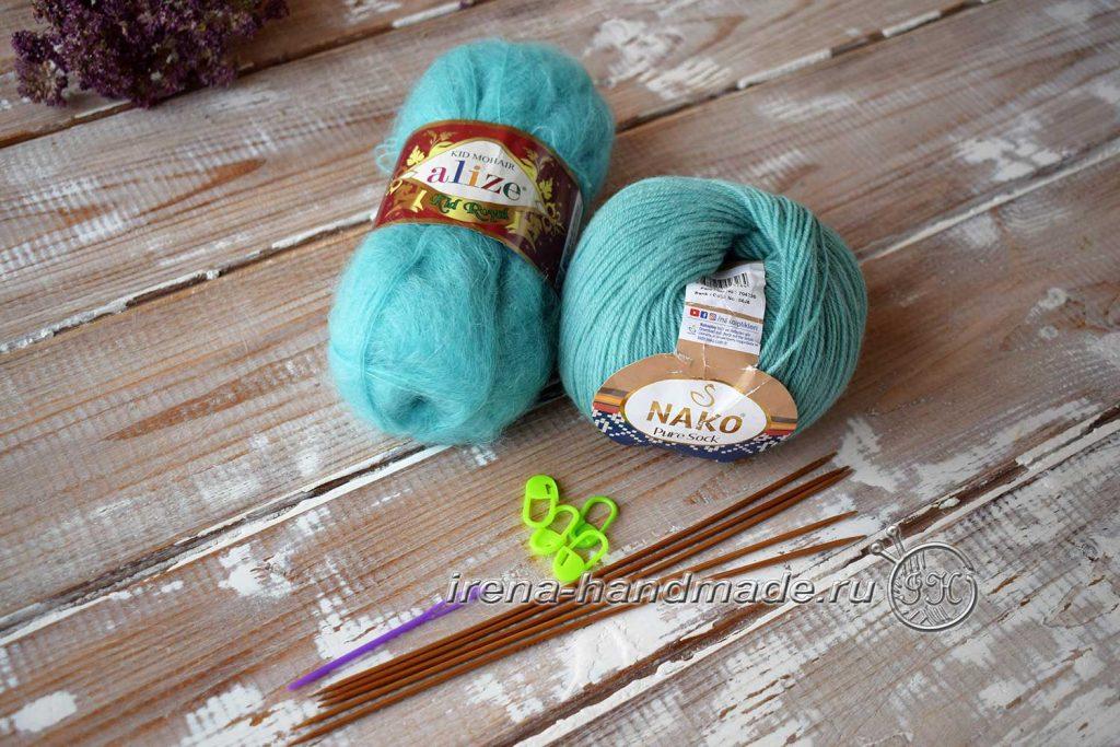 Носки с ажуром «Снежинка» - материалы