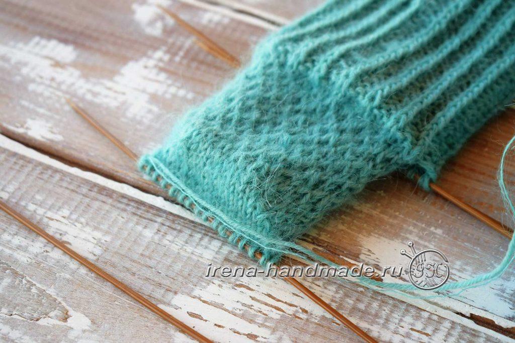 Носки с ажуром «Снежинка» - пятка подкова