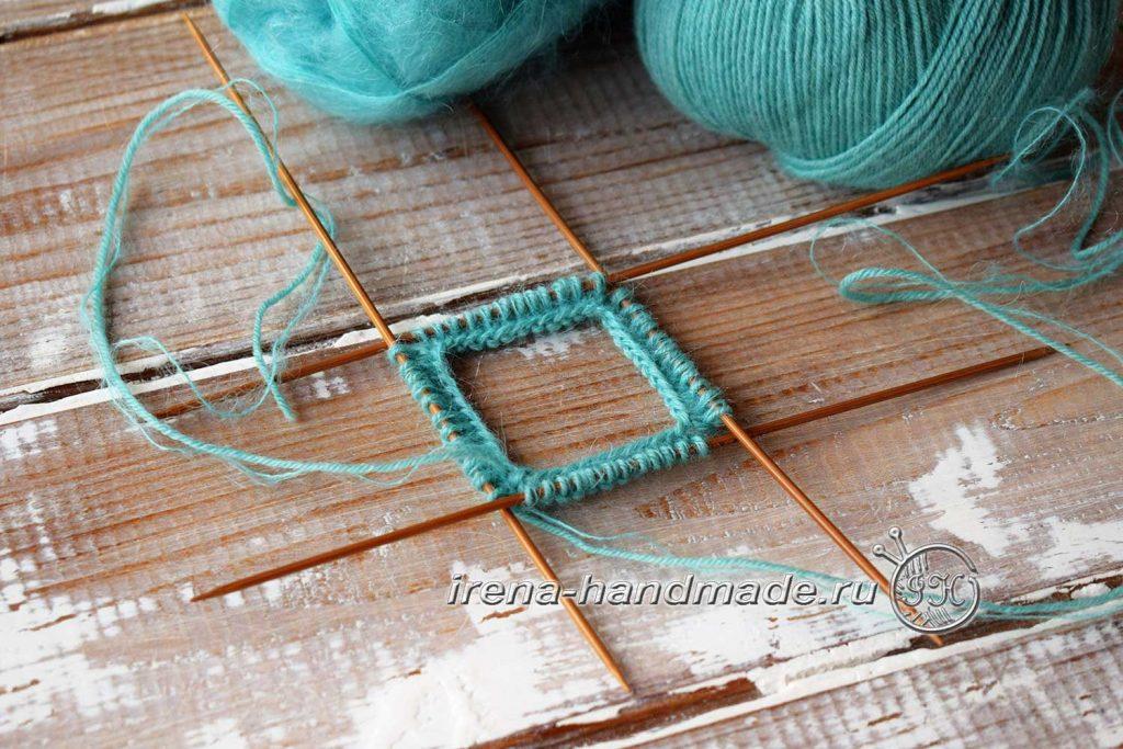 Носки с ажуром «Снежинка» - соединение в круг