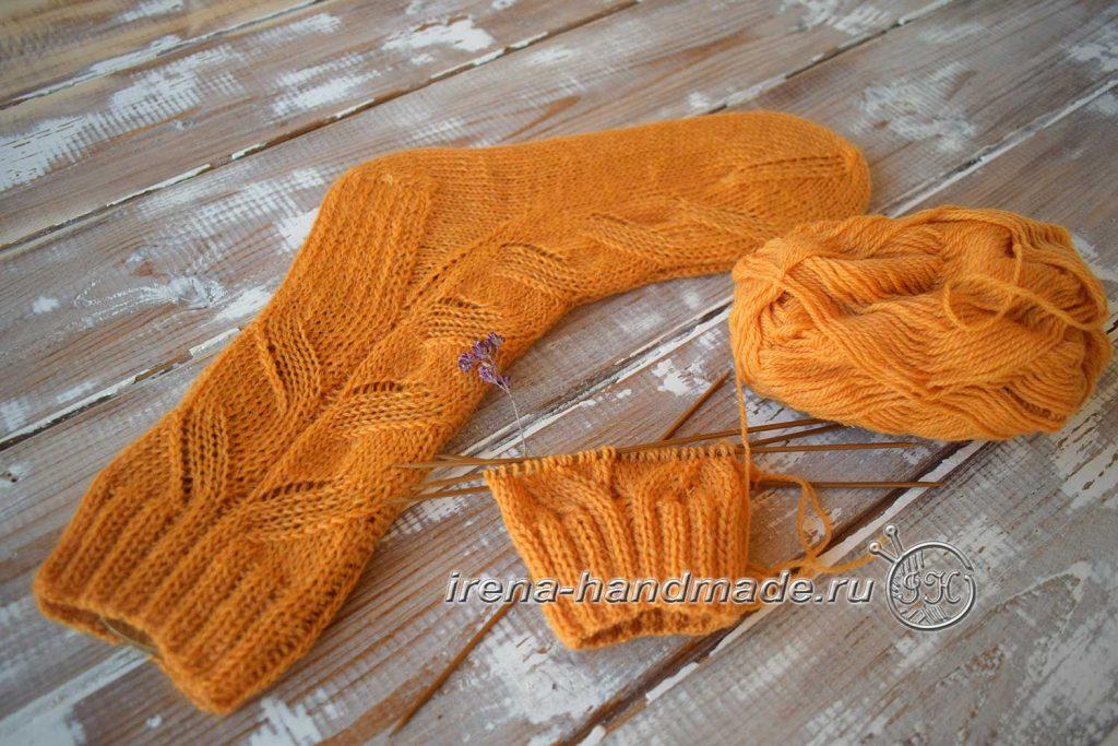 Схема узора для носков «ложная» коса - начало