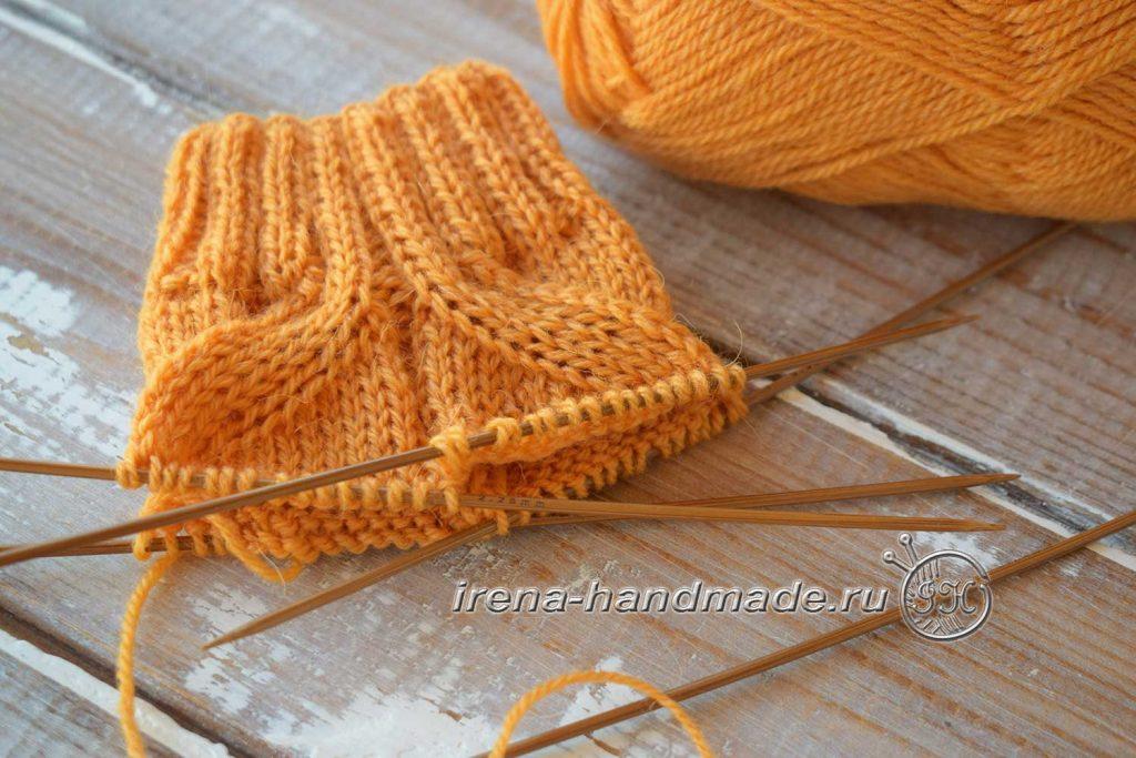 Схема узора для носков «ложная» коса - начало вязания