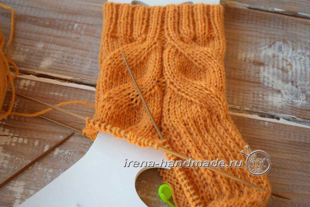 Схема узора для носков «ложная» коса - стенка пятки
