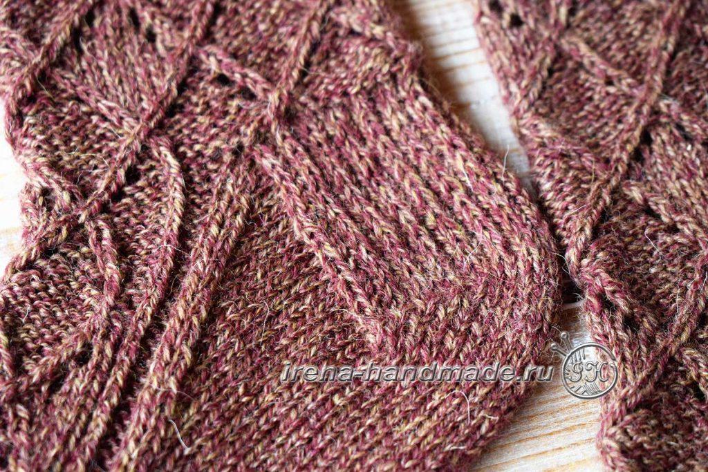 Ажурные носки «Корица» - поворотная часть пятки
