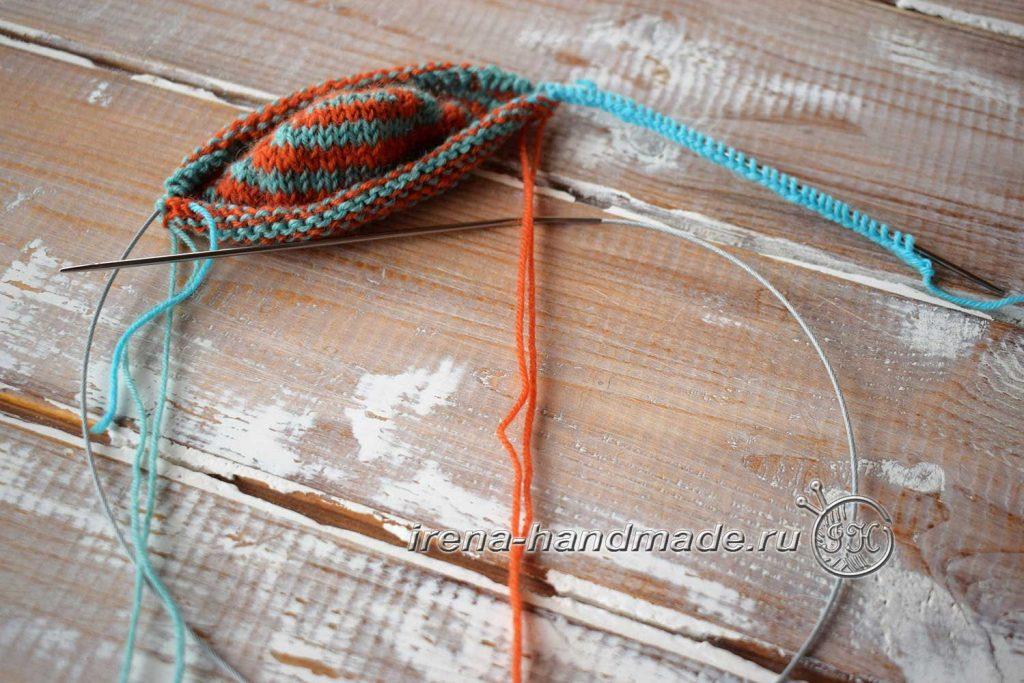 Носки со спиральной пяткой «Кантри» - добор петель