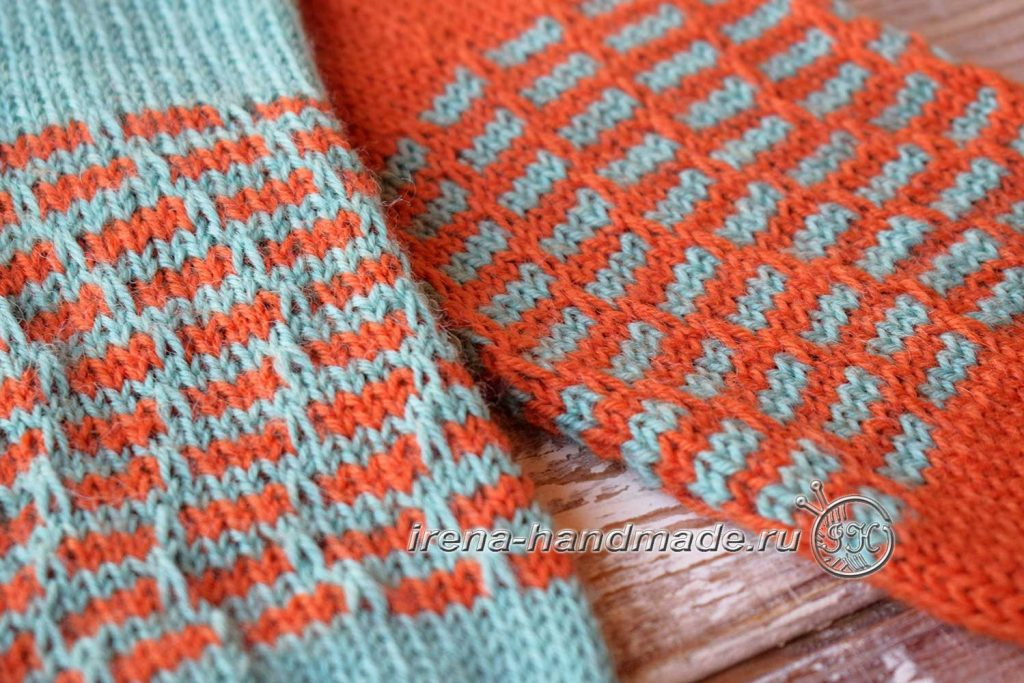 Носки со спиральной пяткой «Кантри» - узор «Циновка»