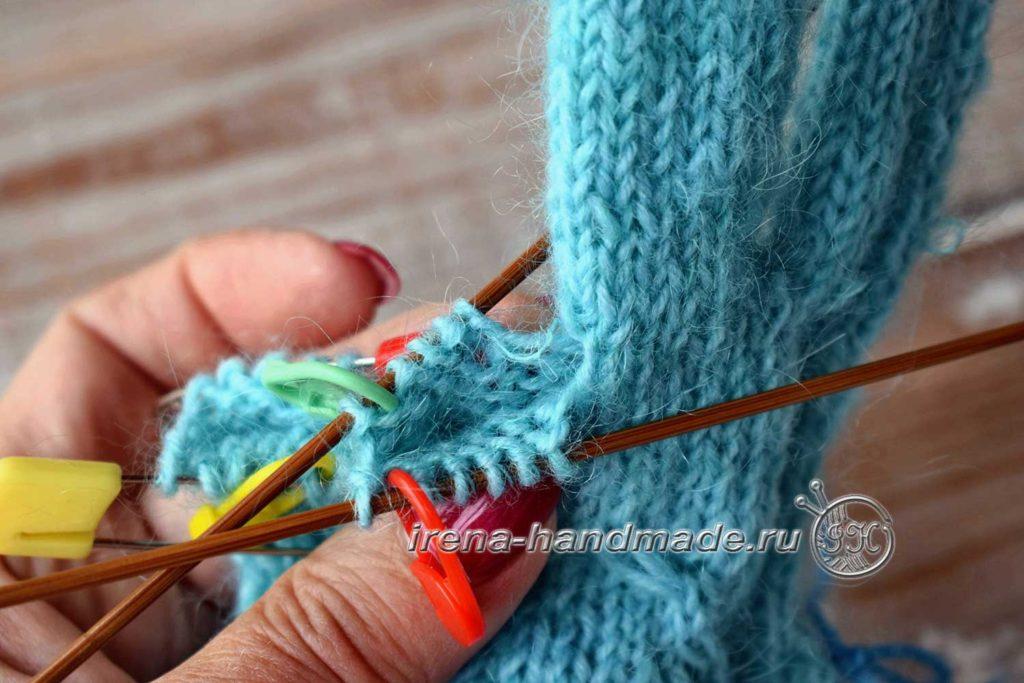 Перчатки с узором «Елочка» - безымянный палец-1