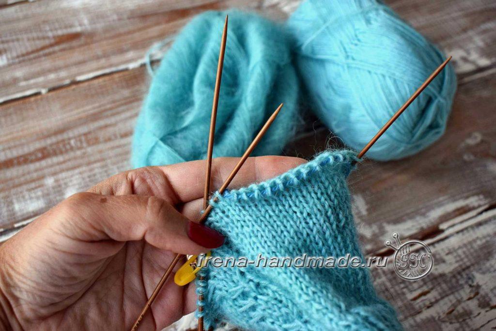 Перчатки с узором «Елочка» - большой палец