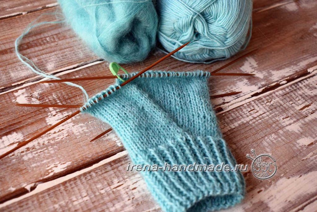 Перчатки с узором «Елочка» - левая клин