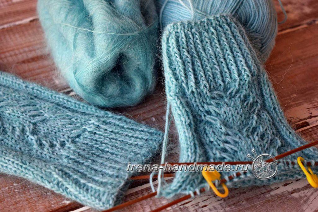 Перчатки с узором «Елочка» - манжета
