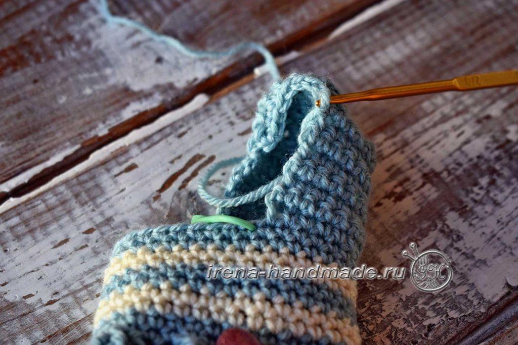 Детские носочки крючком - добор петель