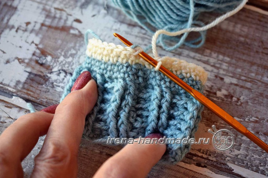 Детские носочки крючком - смена цвета